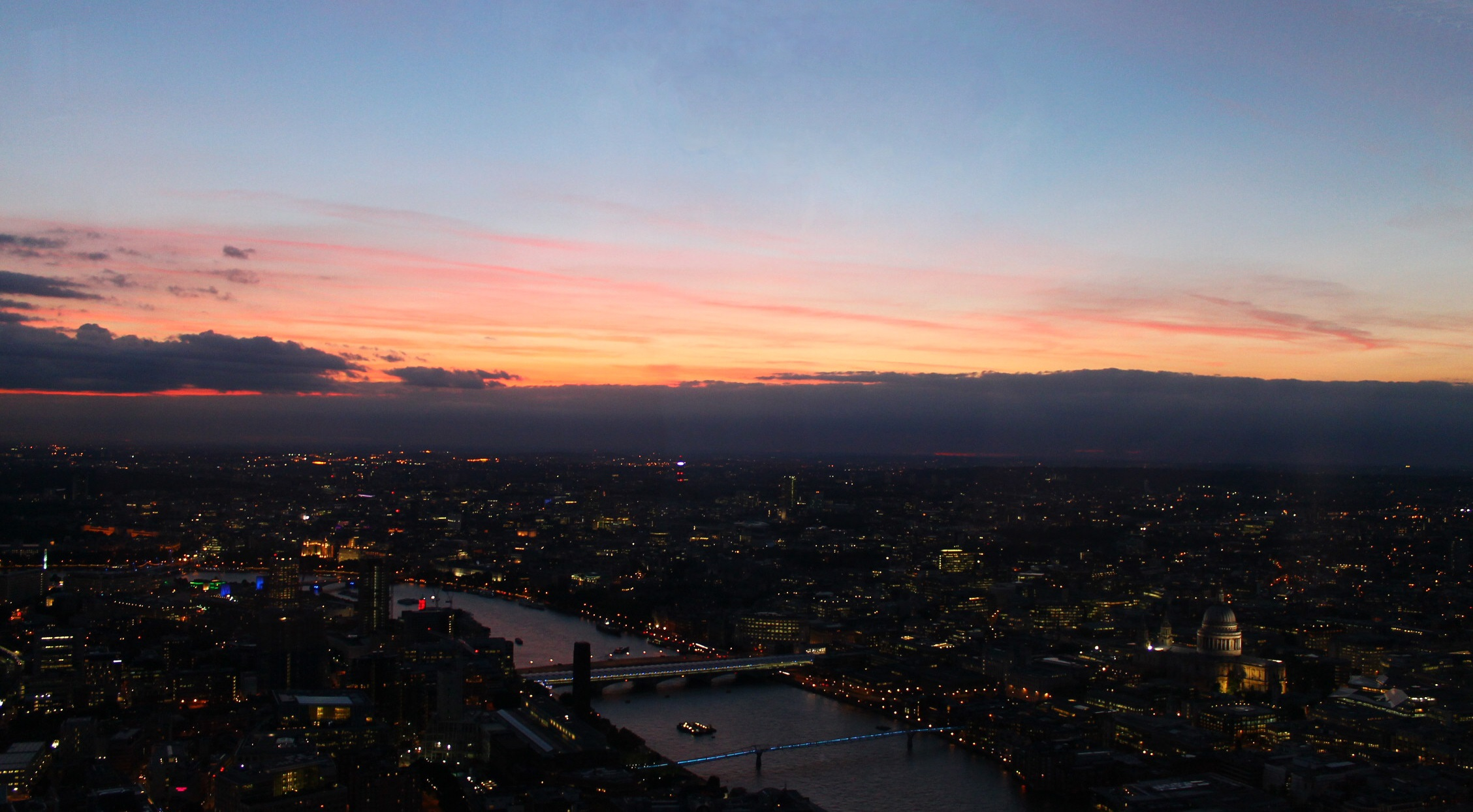 Anochecer en Londres desde The Shard