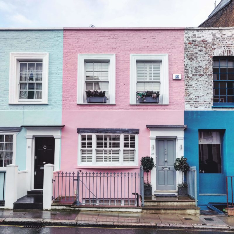 Casas de colores de Notting Hill, Londres